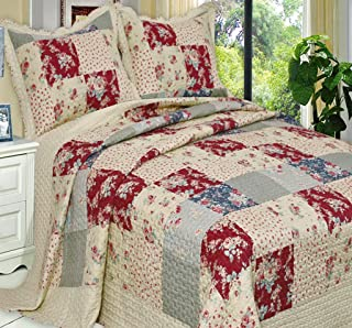 Finely Stitched 2-Piece Quilt Coverlet Set Twin XL/Twin Size (68x90), Luxury Vintage Plaid Floral Patchwork, Reversible Lightweight Bedroom Bedspread All Season, 1 Quilt and 1 Pillow Sham, Burgundy