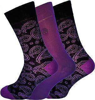 Socks Uwear Mens Bamboo Range Business Design Multipack Socks - Paisley Purple - 7-11