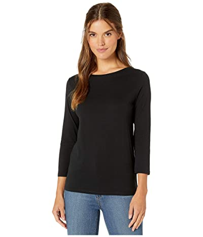 Majestic Filatures Cotton Silk Touch 3/4 Sleeve Boat Neck Tee (Noir) Women
