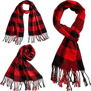 3 Pieces Winter Warm Scarf Faux Cashmere Feel Plaid Scarf Shawls Scarves for Men Women