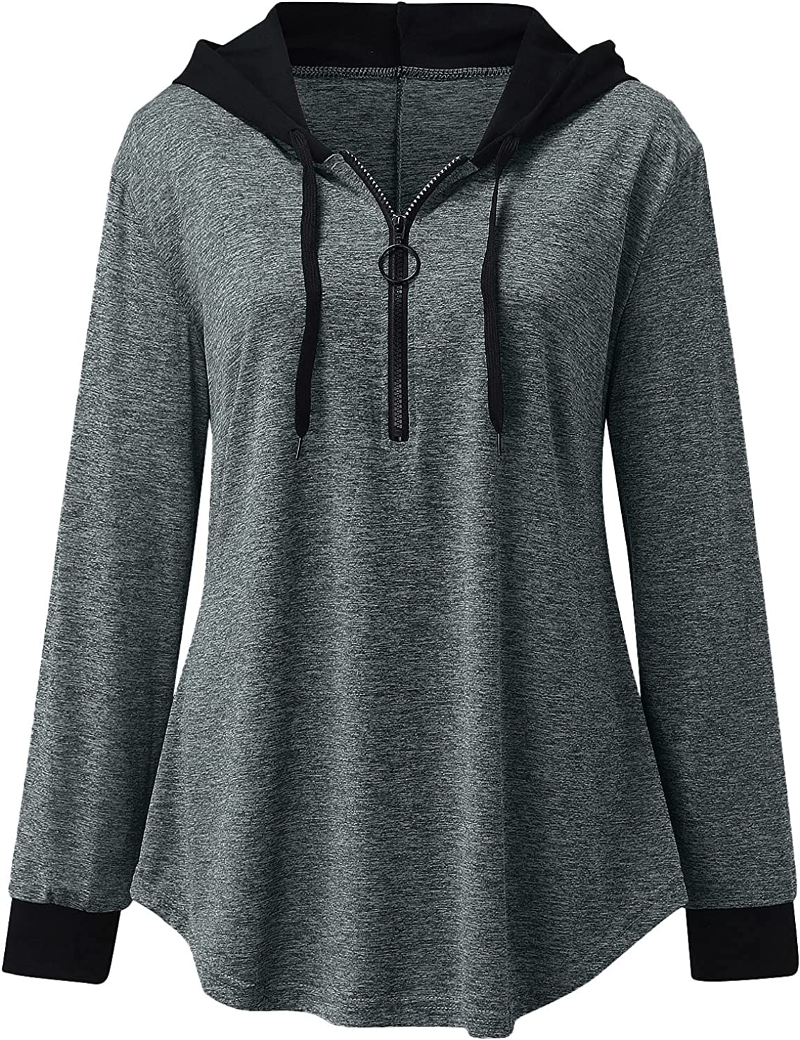 BCDlily Zip UP Hooded Shirt Max mart 77% OFF Women Fit T Loose Color Hoodie Solid