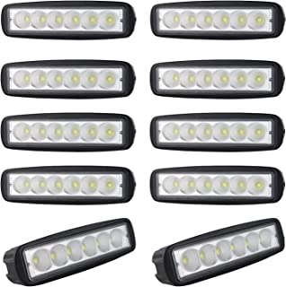 AUXTINGS 6 inch 18W Flood LED Work Light Bar Off Road Car Driving Lamp for Jeep Cabin Boat SUV Truck Car ATV Vehicles Jeep Marin,10 Pieces