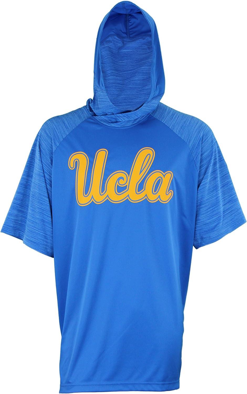 UCLA Bruins adidas Men's Short Sleeve Shooter with Hoodie, blueee 3XLarge +2  Length