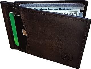 Mens RFID Blocking Bifold Wallet Genuine Leather Brown Slim Wallet with Money Clip