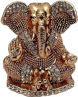 Art N Hub Brass Antique Look with Stones Hindu God Shri Ganesh Car Dashboard Statue Lord Ganesha Idol