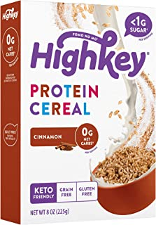 HighKey Keto Snacks - Protein Breakfast Cereal - 0 Net Carb & Zero Sugar, Grain & Gluten Free Cereals Snack Food - Paleo, ...