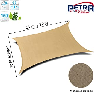 Petra's 26 Ft. X 20 Ft. Rectangle Sun Sail Shade. Durable Woven Outdoor Patio Fabric w/Up to 90% UV Protection. 26x20 Foot. (Desert Sand)
