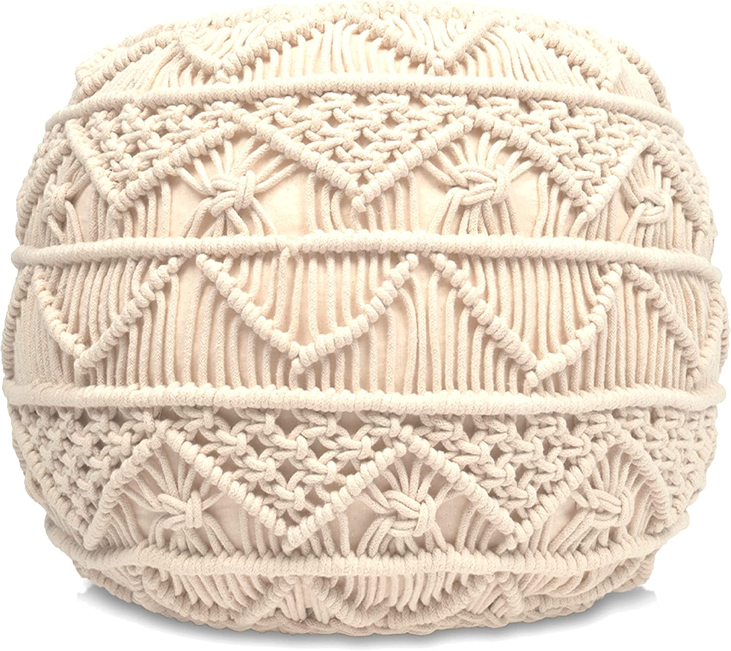 Loominaire Rustic We OFFer at cheap prices Macrame Outlet SALE Pouf Footstool Woven Hand of Triglav