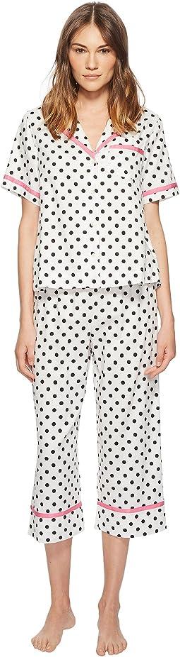 Framed Dot Cropped Pajama Set