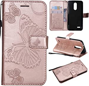 2018 Case Cover  Bravoday  High Quality Leather   Card ID Holder   Wallet Flip Case   Drop Proof  for 2018 Case -Rose Gold