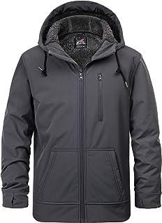 Men's Fleece Lined Water Resistant Windbreaker Softshell Jacket