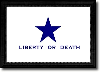 Liberty or Death Flag Goliad Texas Battle Independence Military Flag Black Framed Canvas Print Gift Ideas Home Decor Wall Art Decoration Signs Cards, 15