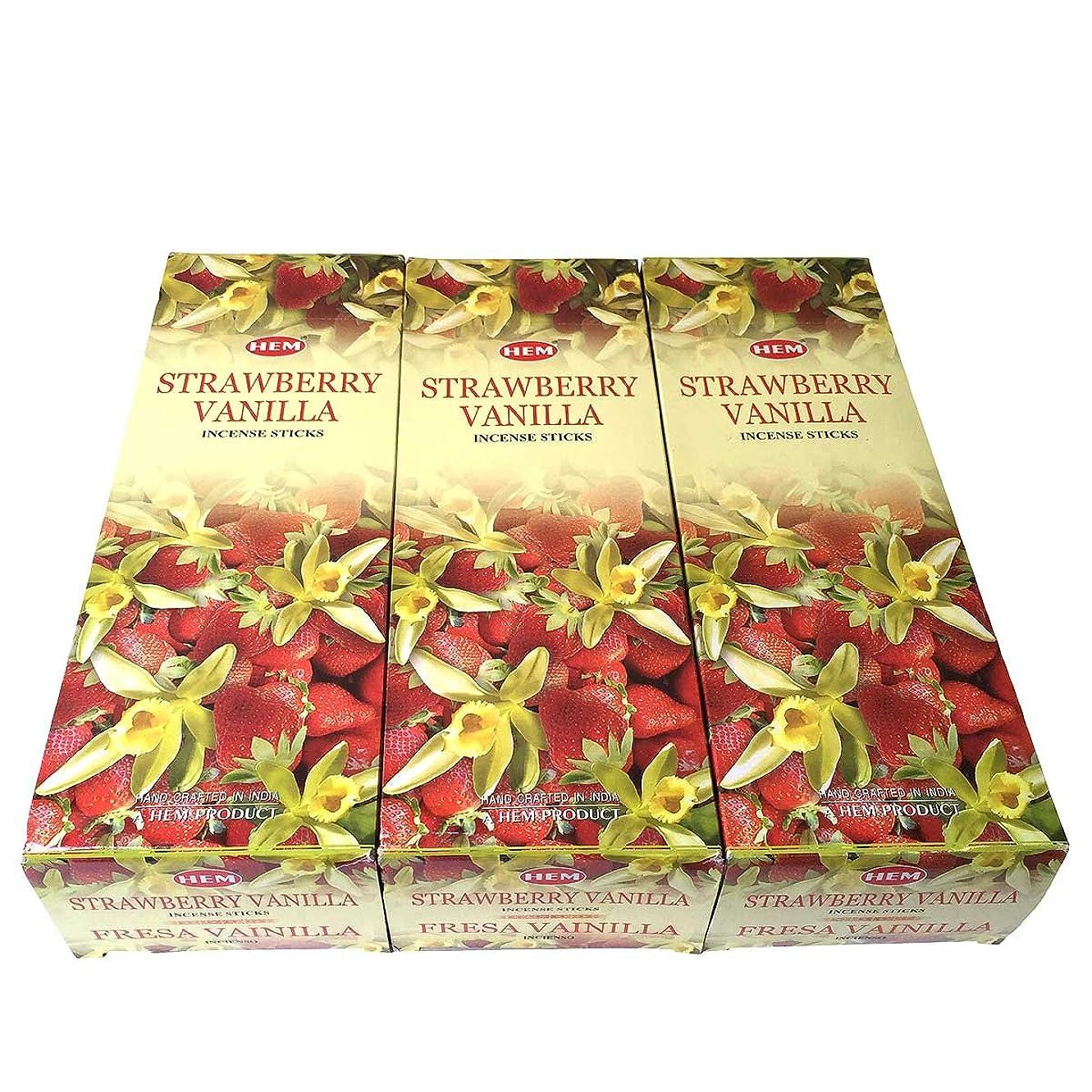 家具押す腸ストロベリーバニラ香スティック 3BOX(18箱) /HEM STRAWBERRY VANILLA/インセンス/インド香 お香 [並行輸入品]