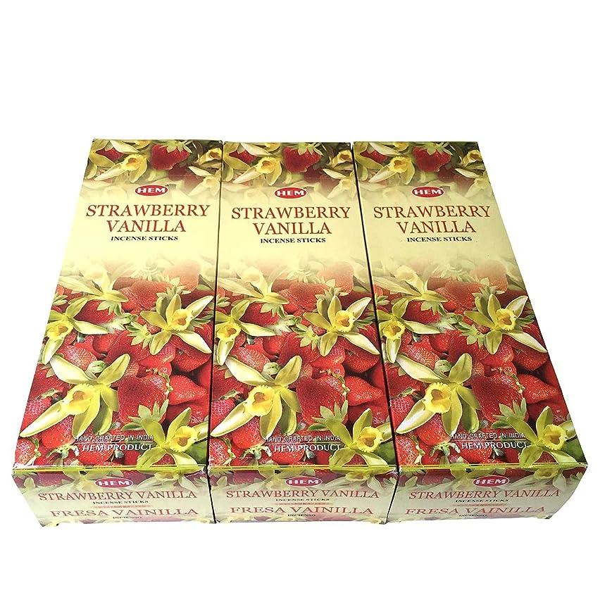 信仰かもめ縮れたストロベリーバニラ香スティック 3BOX(18箱) /HEM STRAWBERRY VANILLA/インセンス/インド香 お香 [並行輸入品]