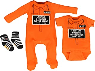 Sara Kety Funny Baby Nine Months on The Inside Rompers, Footsies and Jail Socks for Newborn-Set of 3