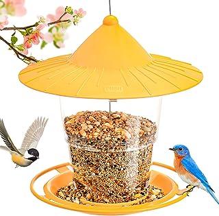 Hanizi Bird Feeder Outside, Squirrel Proof Wild Bird Feeder Hanging for Garden Yard Decoration, Premium Plastic (Yellow)