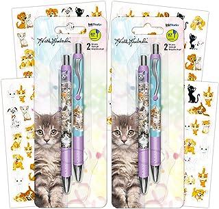InkWorks Keith Kimberlin Kittens Gel Pens Set (4 Premium Kitten Pens with Stickers)