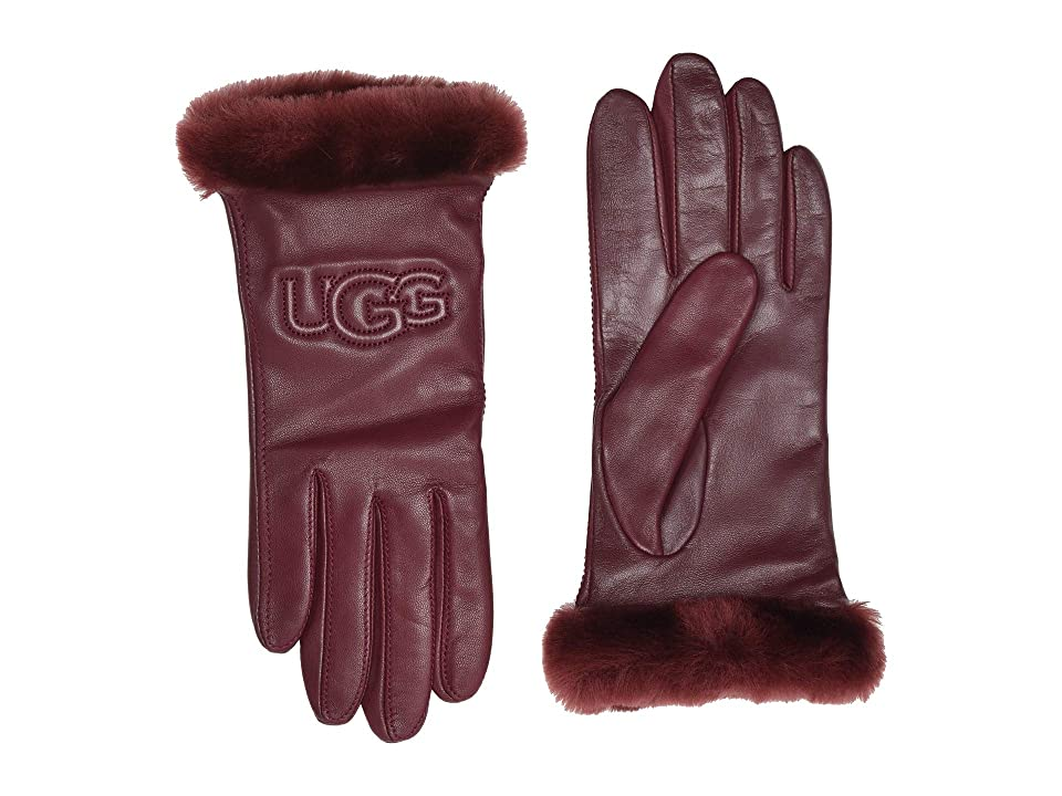 UGG Classic Leather Logo Tech Gloves (Port) Extreme Cold Weather Gloves