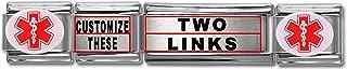 Dolceoro Customized Medical Alert Links - Stainless Steel Italian Modular Charm Link Style