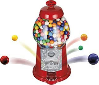 The Candery Gumball Machine - 12 Inch Candy Dispenser for 0.62 Inch Bubble Gum Ball and More - Heavy Duty Red Metal with Large Glass Globe - Easy Twist-Off Refill - Free or Coin Operated