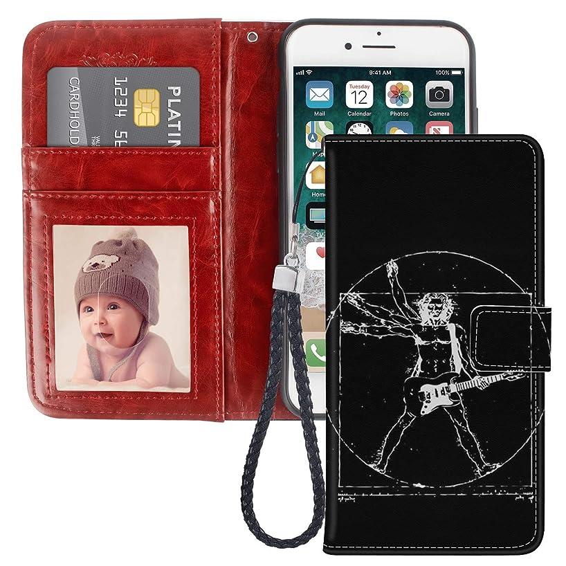 iPhone 6/6S Plus Homo Vitruvianus Guitar Design Wallet Case, Pocket Phone Case, Leather Cover, Shockproof, Multi-Slots Flip Card Holder for iPhone 6/6S Plus LingHan
