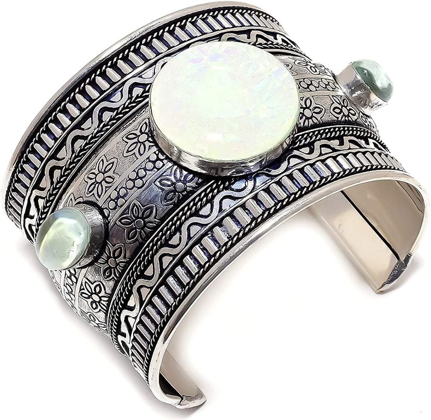 Triplet Fire Animer and price revision Opal Fort Worth Mall White Topaz Bracelet Sterling Cuff Silver 925