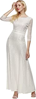 ANGVNS Women's Retro Floral Lace 2/3 Sleeve Formal Evening Gowns Maxi Dress