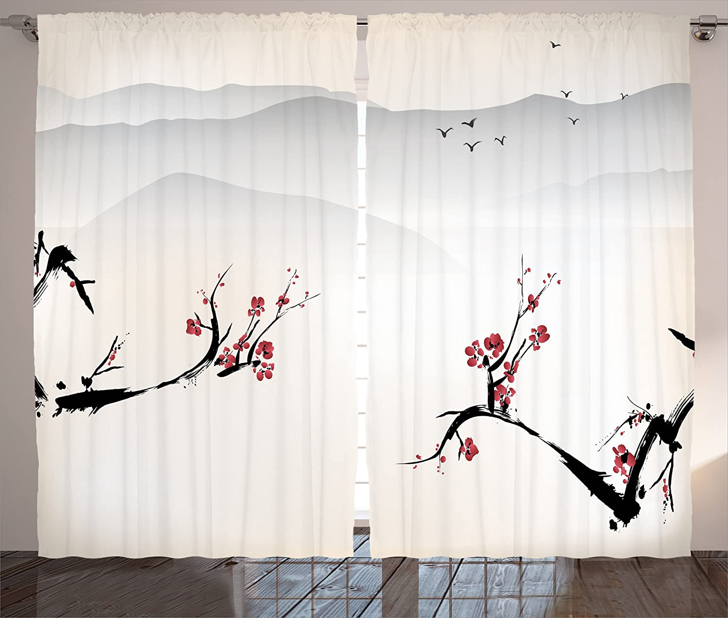 Ambesonne Asian Decor Curtains, Japanese Nature Landscape with National Sakura Flower Over Himalayas and Flying Gulls, Living Room Bedroom Decor, 2 Panel Set, 108 W X 84 L Inches, Beige Red Black