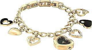 ساعة أرمترون للنساء 75/5666BKGP سواروفسكي مرصعة بالكريستال على شكل قلب