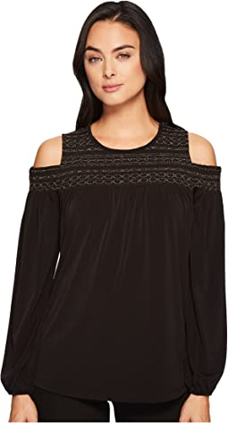 MICHAEL Michael Kors - Metallic Smocked Yoke Top