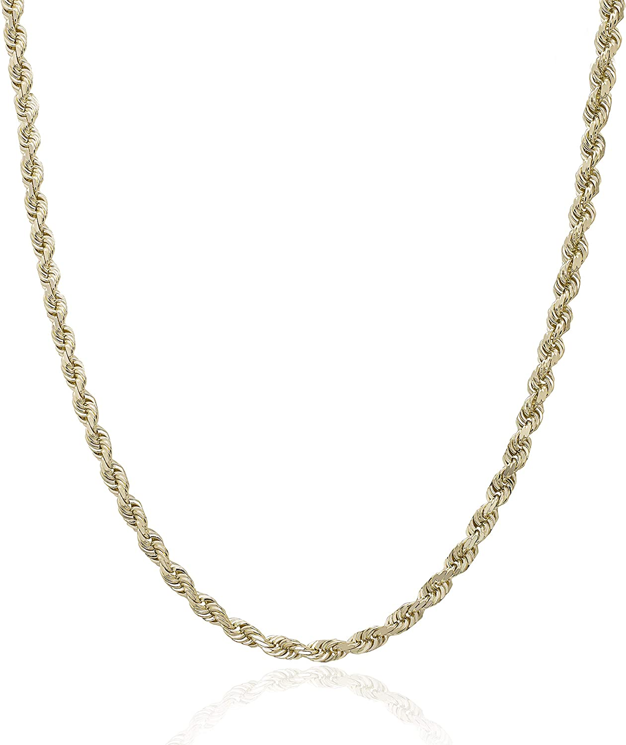 Honolulu Jewelry Company 14K OFFicial site Solid Yellow Rope Long Beach Mall 3mm Gold Chain Ne