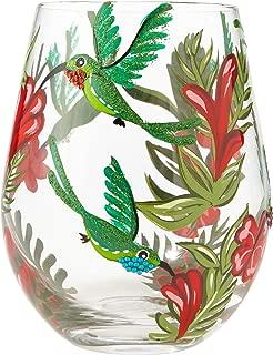 "Enesco 6001313 Designs by Lolita ""Hummingbird"" Hand-Painted Artisan, 20 oz. Stemless Wine Glass, Multicolor"