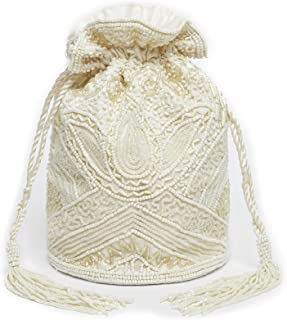 Beatrice Vintage Inspired Hand Embellished Bucket Bag in Cream