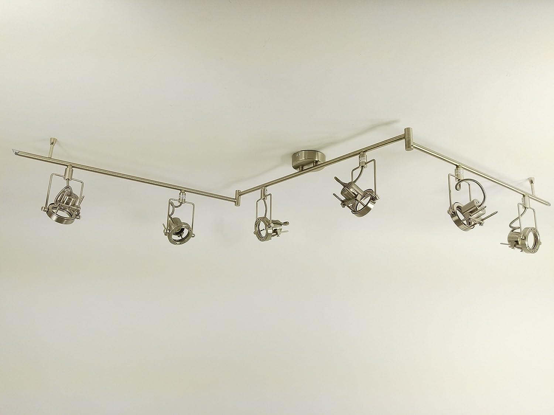 Strahler Spotleuchte Jet Line 6flammig Fassung GU10 Spotbalken Nickel Deckenleuchte Deckenlampe hochwertig