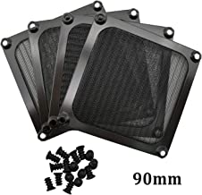 90mm Computer Fan Filter Grills with Screws, Aluminum Frame Ultra Fine Stainelss Steel Mesh - 4 Pack (Black)