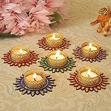 TIED RIBBONS Diwali Candle Holder Set - Floral Floating Tealight Candle Holders Set Diwali Decoration Item (Pack of 6)