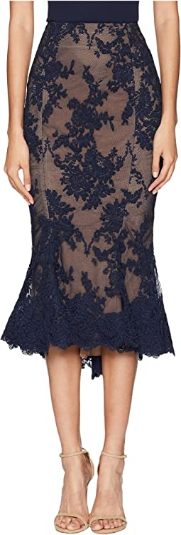 Lace Fit and Flare Pencil Skirt w/ Lace Scallop at Hem