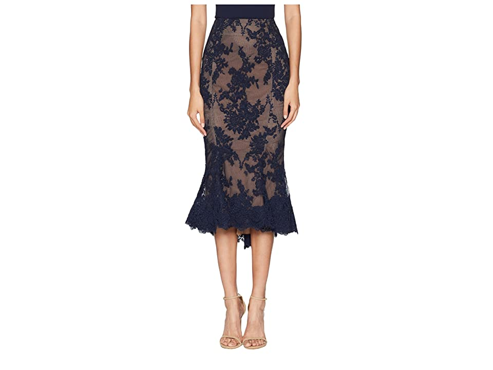 Marchesa Lace Fit and Flare Pencil Skirt w/ Lace Scallop at Hem (Navy) Women's Skirt