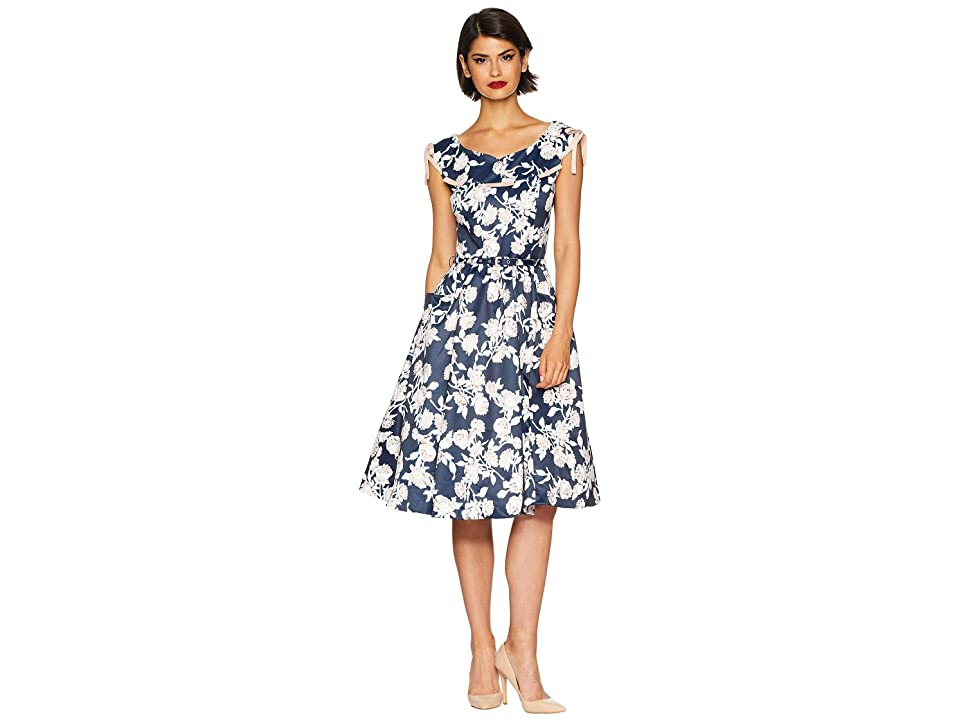 Unique Vintage 1950s Style Marlo Swing Dress (Navy/Peach Pink Floral) Women