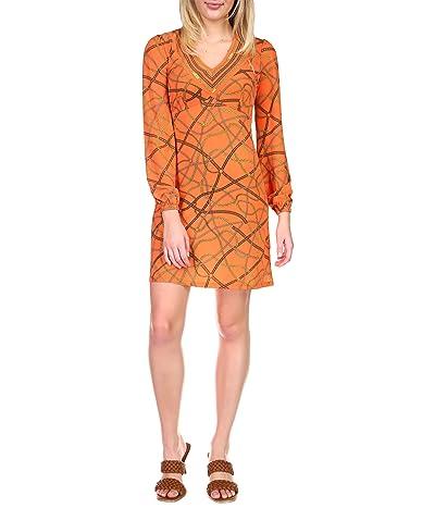 MICHAEL Michael Kors Chain V-Neck Border Dress (Zinnia) Women