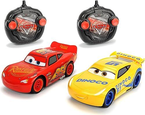 Dickie Toys 203087005 -  Cars 3 Twin Pack Turbo Racer Lightning McQueen + Cruz Ramirez , RC Fahrzeug Set, ferngesteuerte Autos, 1 24, 17cm