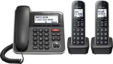 $53 » Panasonic Expandable Corded/Cordless Phone System with Answering Machine and One Touch Call Blocking – 2 Handsets - KX-TGB...