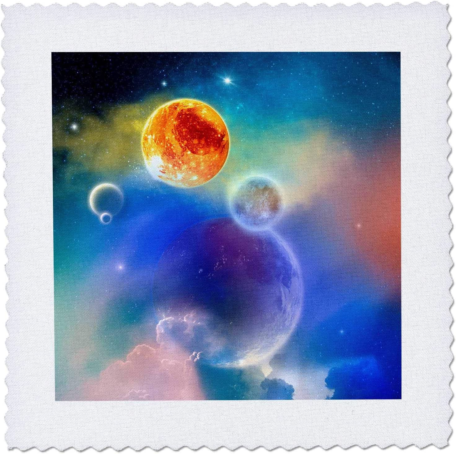 3dRose A Space scenario with Stars new solar system Quilt Squares qs/_339833/_2 sun and planets