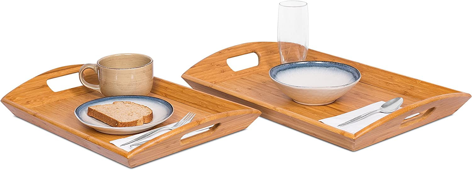 BIRDROCK Limited price sale HOME Breakfast Serving Tray Ranking TOP3 with N Handles 2 - of Set
