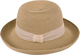 Women's Lightweight Packable Bucket Straw Sun Hat with Decorative Ribbon