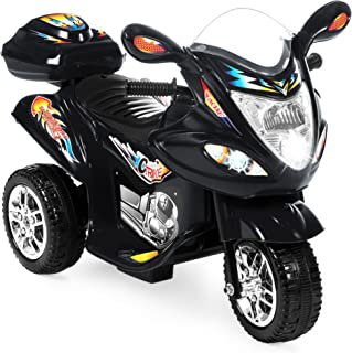 Best Choice Products Kids 6V Electric 3-Wheel Motorcycle Ride On, LED Lights/Sound, Storage, Black