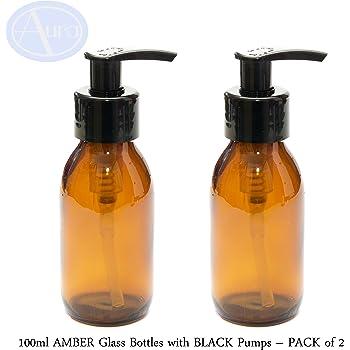 Flacons en verre AMBER de 100 ml avec pompes NOIR - PACK de 2
