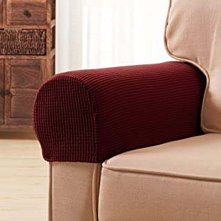 Subrtex Spandex Stretch Fabric Armrest Covers Anti-Slip Furniture Protector Armchair Slipcovers for Recliner Sofa Set of 2 with Free Fixing Tools(Wine with Twist Pins)