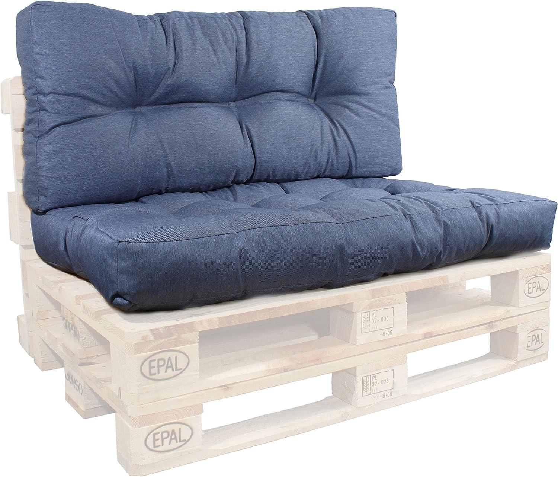 GERSO Palettenkissen 120 x 80 Sitzkissen und Rückenlehne 50cm Palettensofa Polster Set BLAU