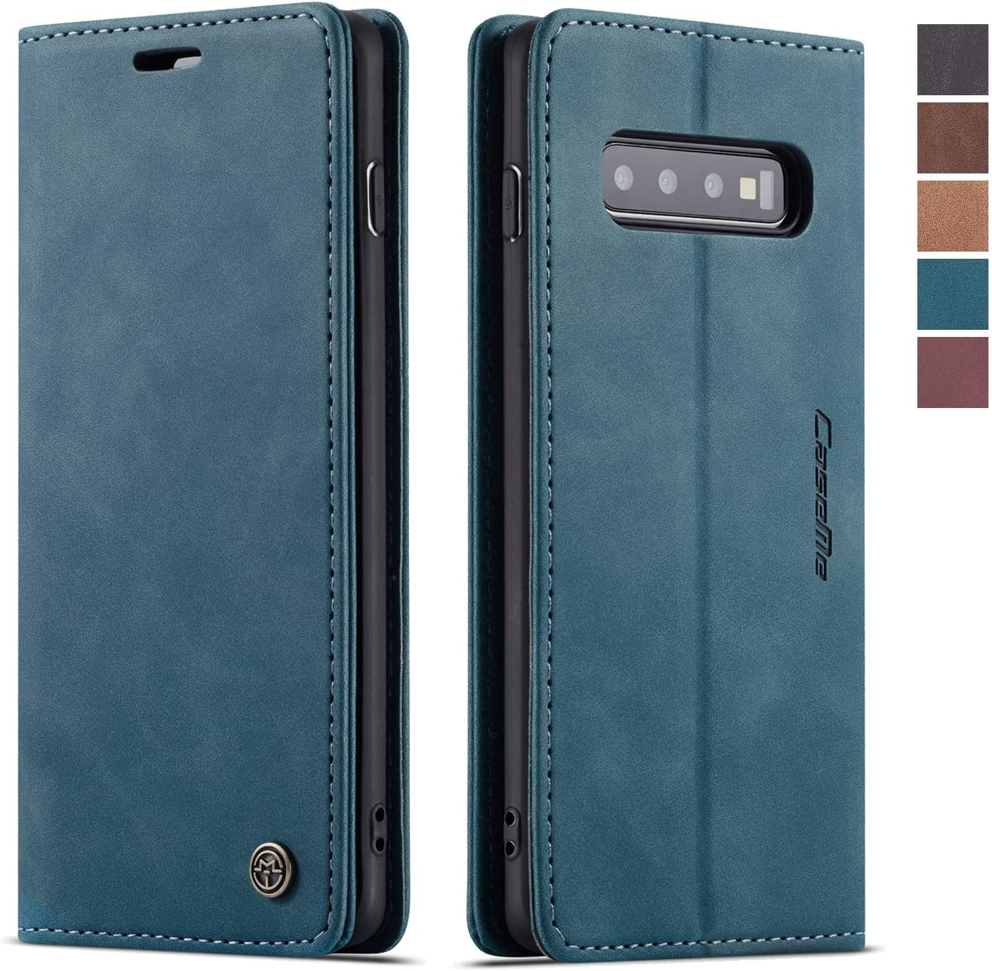 Samsung Galaxy S10 Case,Samsung Galaxy S10 Wallet Case, Magnetic Stand Flip Protective Cover Leather Flip Cover Purse Style with ID & Credit Card Slots Holder Case for Samsung Galaxy S10 (Blue)